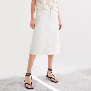 ZARA Modern White Denim Skirt